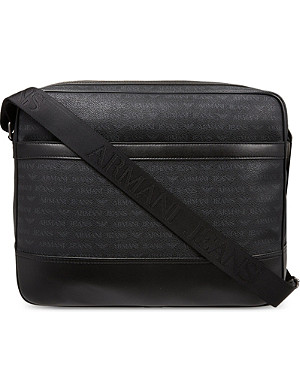 ARMANI JEANS Grained leather messenger bag