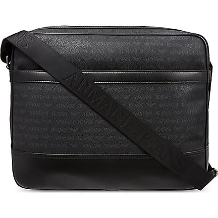ARMANI JEANS Grained leather messenger bag (Black