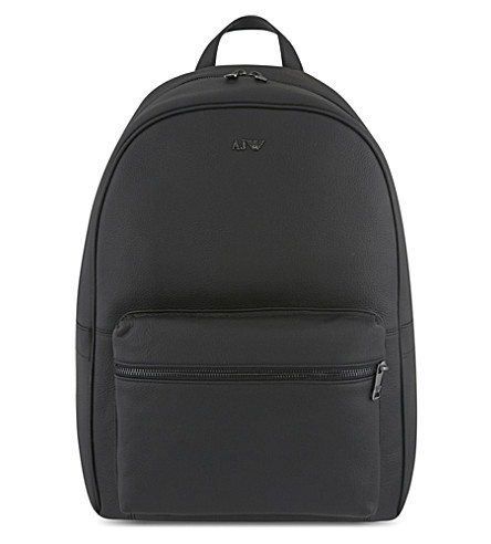 ARMANI JEANS Grained leather backpack (Black