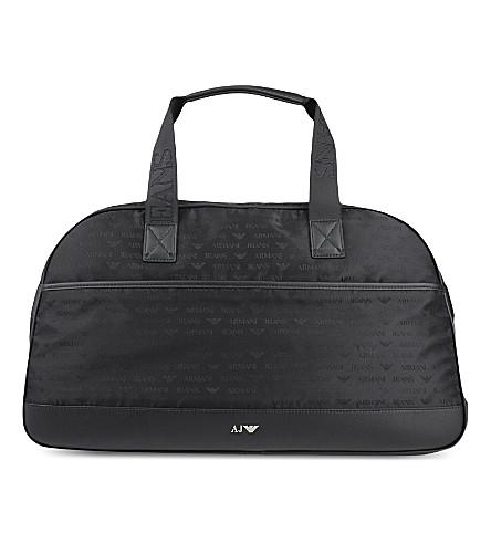 ARMANI JEANS Jacquard eagle logo weeekender bag (Black