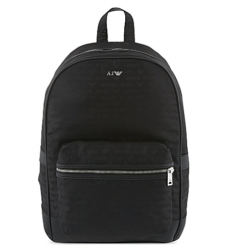 ARMANI JEANS Eagle print backpack (Black