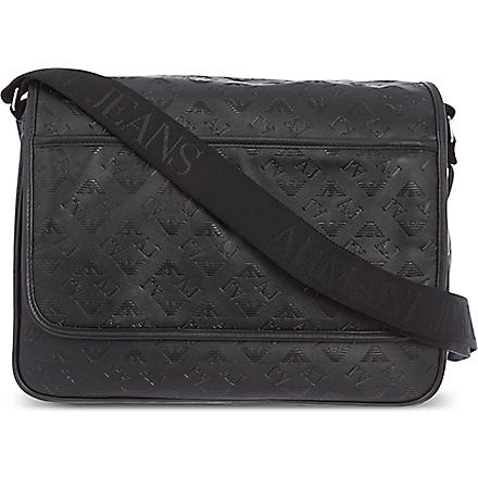 ARMANI JEANS Eco leather messenger bag (Black