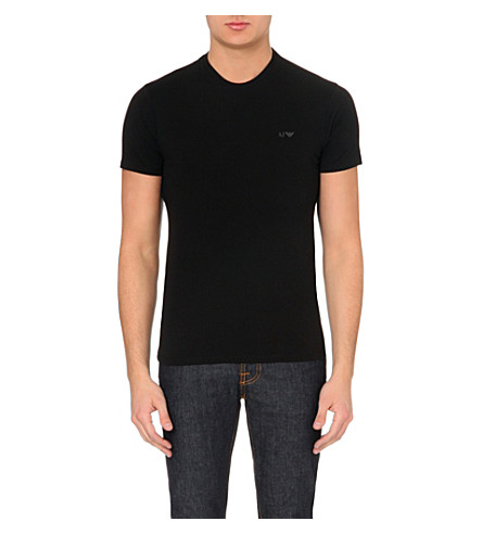 ARMANI JEANS Cotton-jersey t-shirt two-pack (Black+white