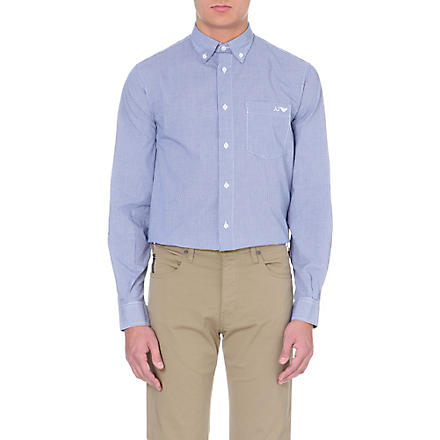 ARMANI JEANS Gingham button-down shirt (Blue