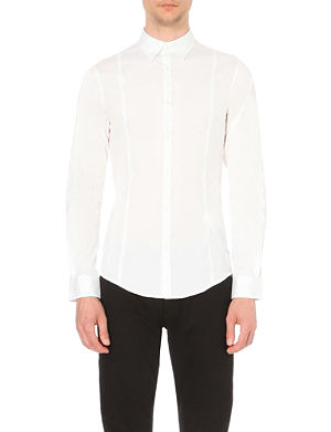 ARMANI JEANS Plain white slim-fit shirt
