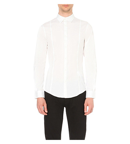ARMANI JEANS Plain white slim-fit shirt (White
