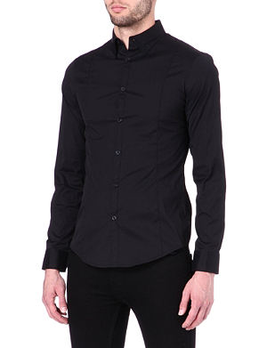 ARMANI JEANS Plain black slim-fit shirt