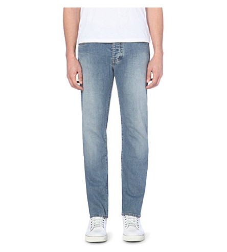 ARMANI JEANS Regular mid-rise faded jeans (Light+blue