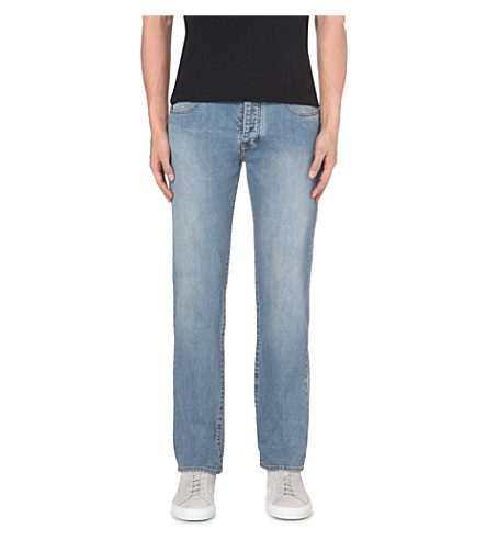 ARMANI JEANS Regular-fit mid-rise jeans (Light+blue