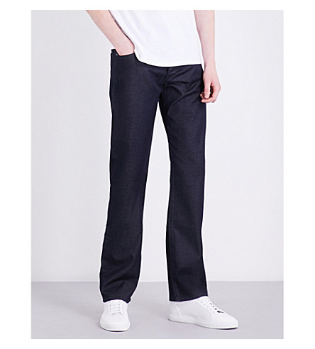 ARMANI JEANS Tonic sheen stretch-denim jeans (Blue