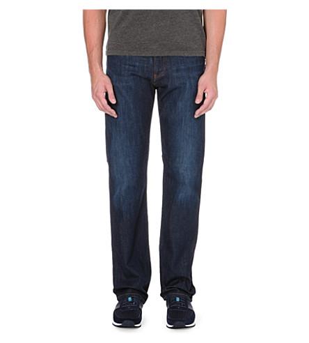 ARMANI JEANS 深蓝色常规版型弹力牛仔布牛仔裤 (蓝色
