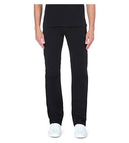 ARMANI JEANS Stretch-cotton gabardine trousers (Black