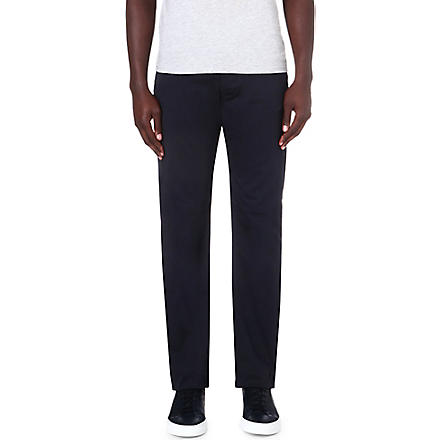 ARMANI JEANS Stretch-cotton gabardine trousers (Blue