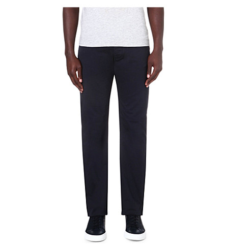 ARMANI JEANS Stretch-cotton gabardine trousers (Blue