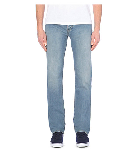 ARMANI JEANS Regular-fit mid-rise faded jeans (Light+blue