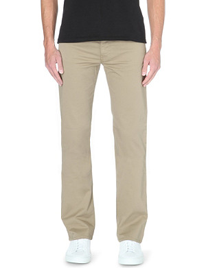 ARMANI JEANS Regular-fit straight stretch-cotton garbadine trousers