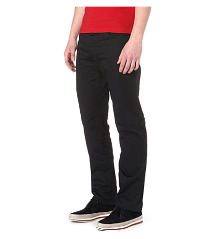 ARMANI JEANS Stretch-cotton gabardine trousers (Navy