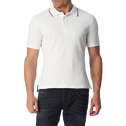 ARMANI JEANS Embroidered logo polo shirt (White