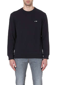ARMANI JEANS Logo-embroidered cotton sweatshirt