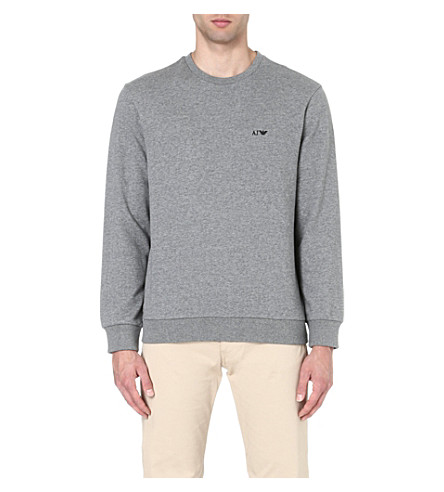 ARMANI JEANS Logo-embroidered cotton sweatshirt (Grey