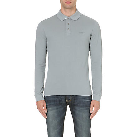ARMANI JEANS Branded cotton polo shirt (Grey