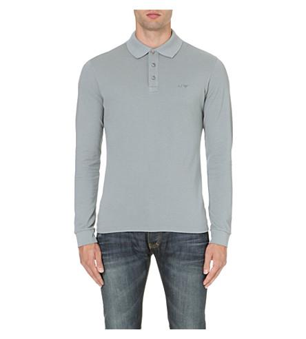 ARMANI JEANS Branded cotton polo shirt (Grey