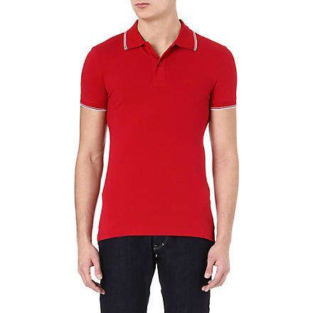 ARMANI JEANS Twin-tipped piqué polo shirt (Red