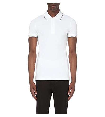 ARMANI JEANS Embroidered-logo stretch-cotton polo shirt (10+bianco