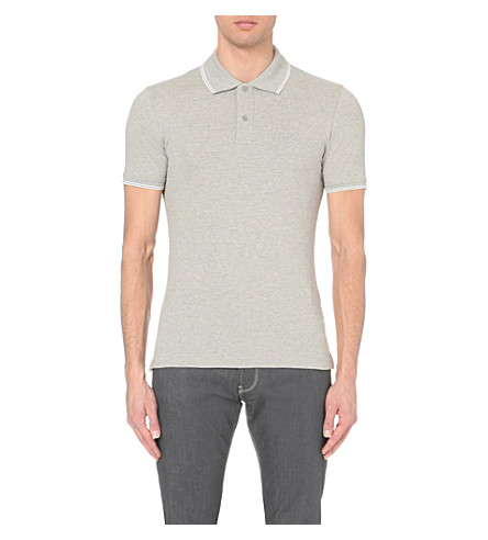 ARMANI JEANS Embroidered-logo stretch-cotton polo shirt (J2+grey