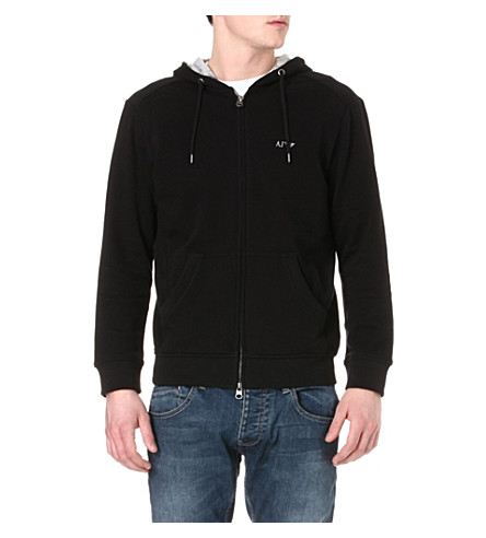 ARMANI JEANS Zip-up cotton-jersey hoody (Black