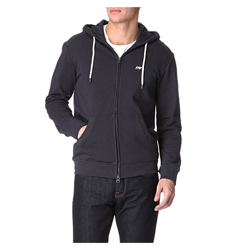 ARMANI JEANS Zip-up cotton-jersey hoody (Navy