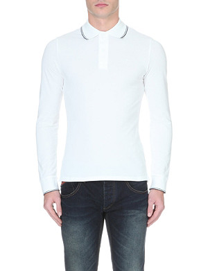 ARMANI JEANS Long-sleeved stretch-cotton polo shirt