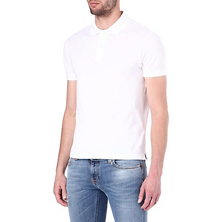 ARMANI JEANS Plain cotton-piqué polo shirt (White