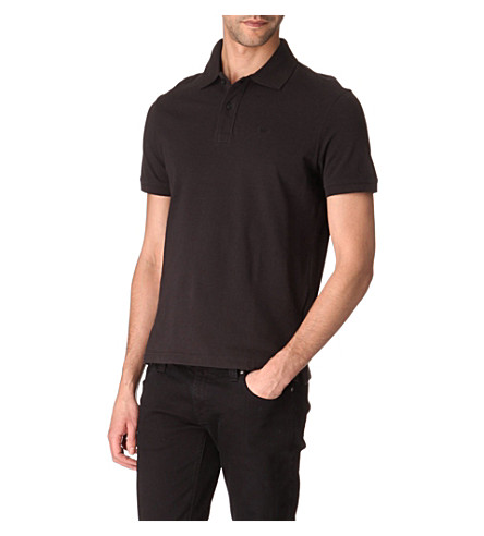 ARMANI JEANS Plain cotton-piqué polo shirt (Black