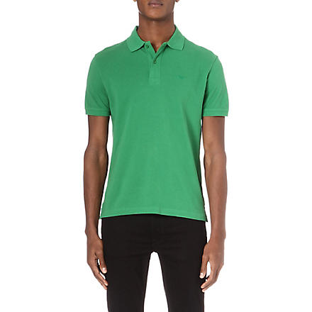 ARMANI JEANS Embroidered-logo polo shirt (Green