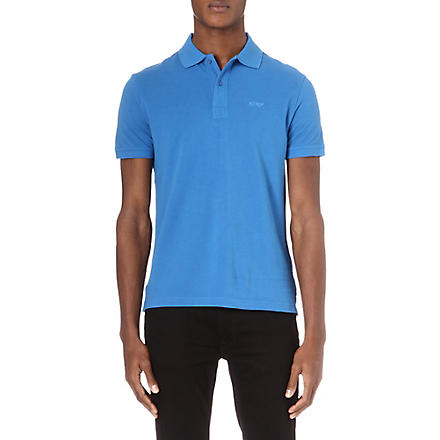 ARMANI JEANS Plain cotton-piqué polo shirt (Blue