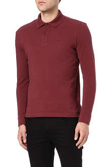 ARMANI JEANS Long-sleeve cotton-piqué polo shirt