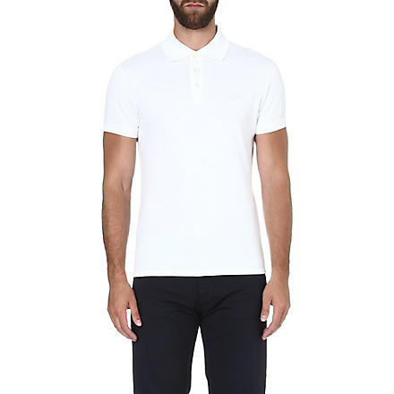 ARMANI JEANS Logo-embroidered polo shirt (White