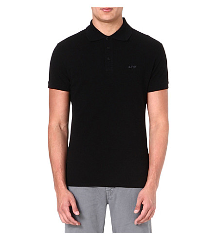 ARMANI JEANS Logo cotton-piqué polo shirt (Black