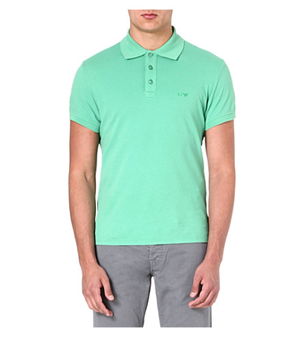 ARMANI JEANS Logo-embroidered polo shirt (Green