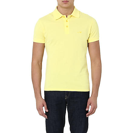 ARMANI JEANS Embroidered-logo polo shirt (Yellow