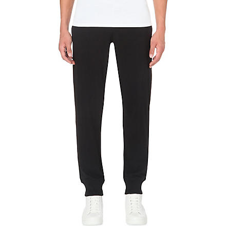 ARMANI JEANS Embroidered-logo cuffed jogging bottoms (Black