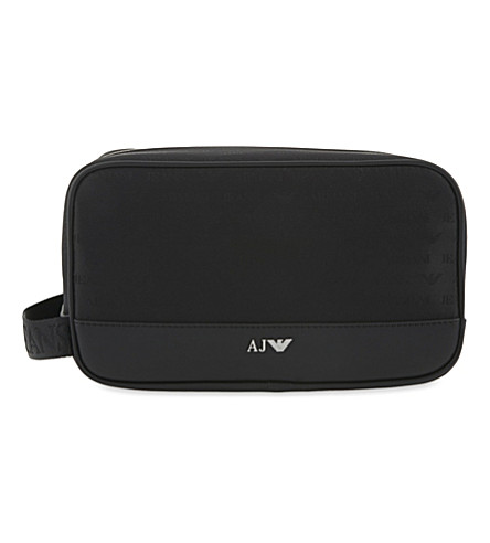 ARMANI JEANS Eagle logo jacquard wash bag (Black