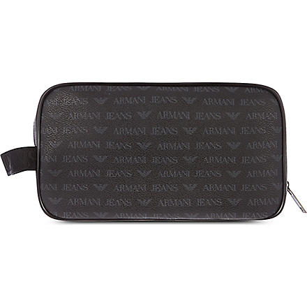 ARMANI JEANS Eco leather wash bag (Black