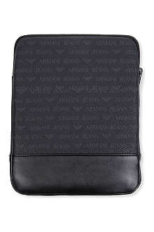 ARMANI JEANS Grained leather iPad case