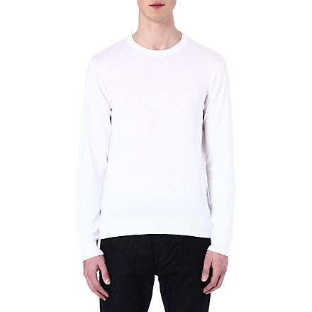 ARMANI JEANS Basic cotton-knit jumper (White