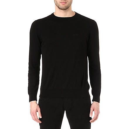 ARMANI JEANS Basic cotton-knit jumper (Black