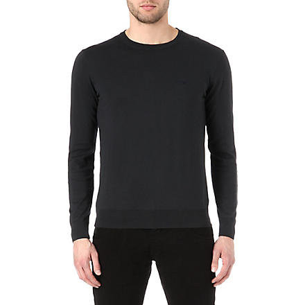 ARMANI JEANS Basic cotton-knit jumper (Navy