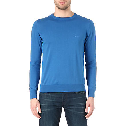 ARMANI JEANS Basic cotton-knit jumper (Blue