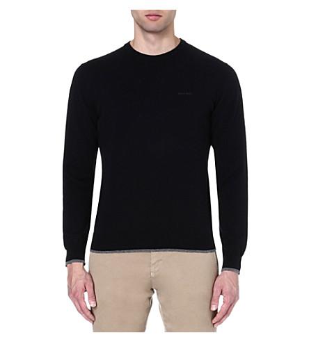 ARMANI JEANS Contrast-trim jumper (Black